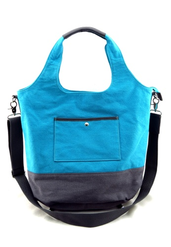 Esther Accessories blue Canvas Tote With Removable Shoulder Strap ES153AC13NDYHK_1