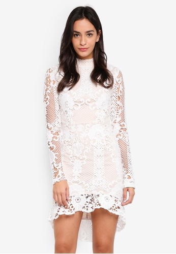 MISSGUIDED white Lace Flippy Hem Flare Sleeve Bodycon Dress B7449AA7FC14F5GS_1