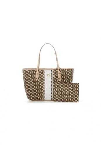 Samantha Thavasa brown and multi and beige Samantha Thavasa Monogram Shopper Tote DA400AC2F83FCBGS_1