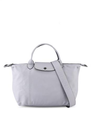 Longchamp grey Le Pliage Cuir Top Handle Bag M (nt) C372BAC4D6C0B8GS_1