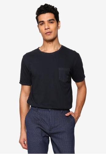 !Solid black Loman Pocket T-Shirt AB6D3AA67CBA59GS_1