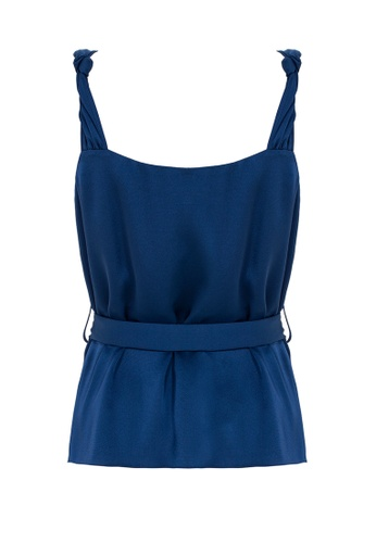 Jimmy Sanders blue Jimmy Sanders Women's Blouse with Knot Detail 692FCAA3E95557GS_1