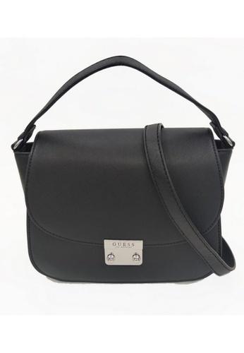 Guess black Guess Whitten Top Handle Flap Bag 2B609ACEE1D1B7GS_1