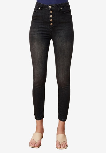 Trendyol black Button Front High Waist Skinny Jeans 5A433AA1D2CF3EGS_1