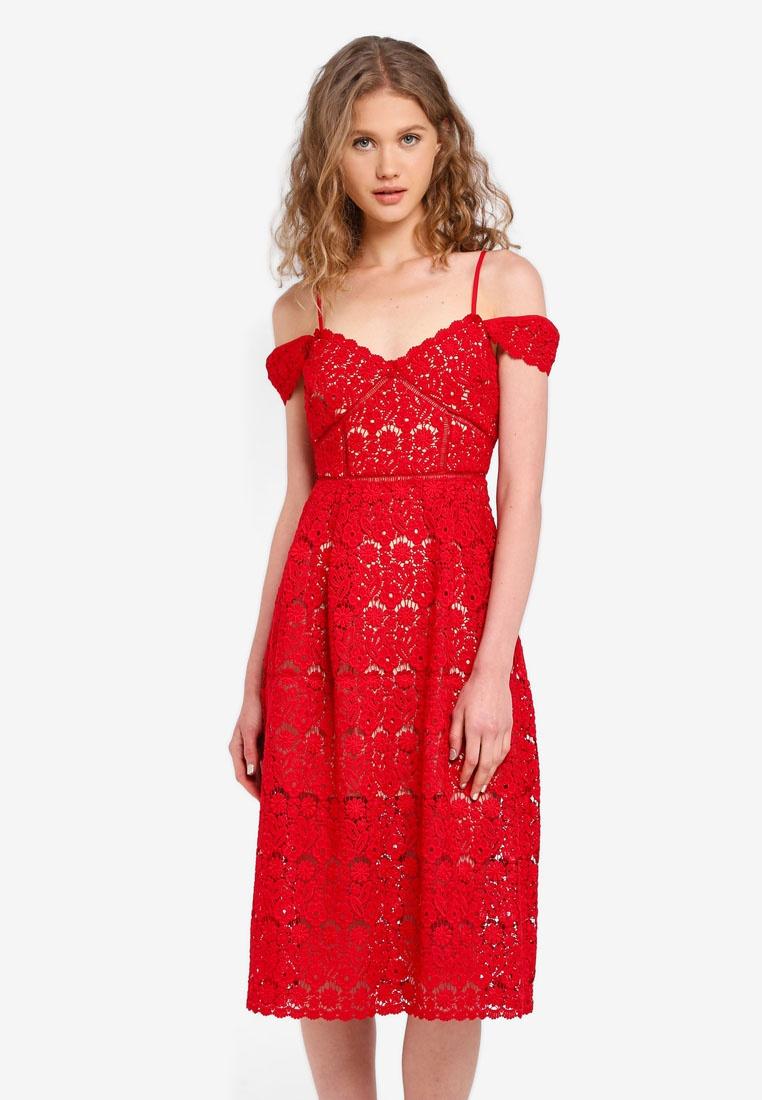 Dress Lace Jack Red Wills Sleaford Midi PgxSwSH