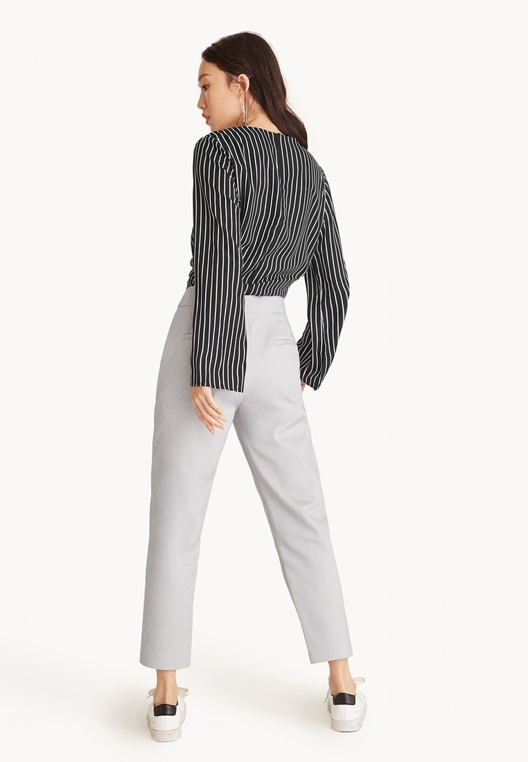 Cropped Grey Light Pants Gray Seam Center Pomelo 1wZqdnTaxa
