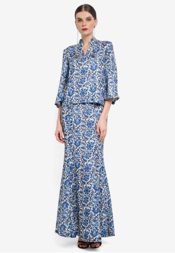 Rizalman for Zalora blue Kedah Collar Kurung RI909AA0SF1CMY_1