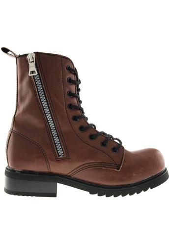 Maxstar brown Maxstar Women's 303 Zipper Mid Calf PU Combat Boots US Women Size MA164SH89FMKSG_1