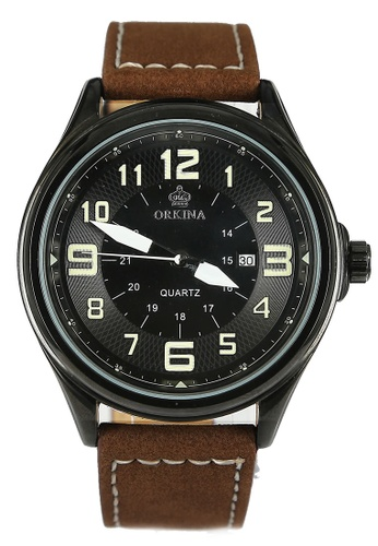 Chronomart black and brown Orkina Men's Black Dial Outdoor Fashion Leather Strap Watch CH783AC15NPCPH_1