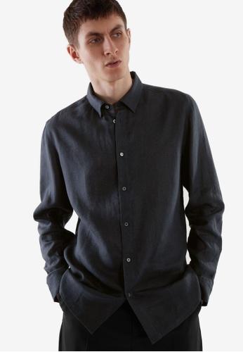 Cos blue and navy Regular-Fit Hemp Shirt A6B5EAAF514ECEGS_1