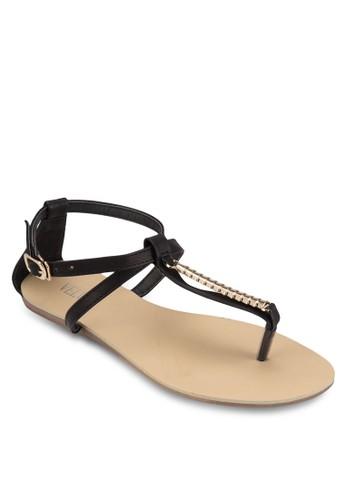 Charlene 閃飾繞踝平底涼zalora 衣服尺寸鞋, 女鞋, 涼鞋
