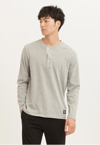 H:CONNECT grey Henly Neck Solid Color T-Shirt 8712CAA211100DGS_1