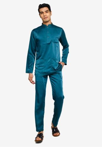 Fidelio green Jaspar Baju Melayu Slim Fit 46A73AA6768B4EGS_1