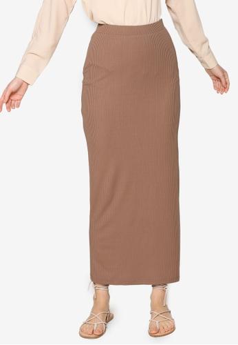 ZALIA BASICS brown Basic Knit Skirt 724E2AA941FAAFGS_1