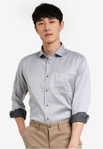 John Master grey John Master Men Timeless Regular Fit Long Sleeve Shirt - Grey 7078902-G5 2315AAA7E7010CGS_1