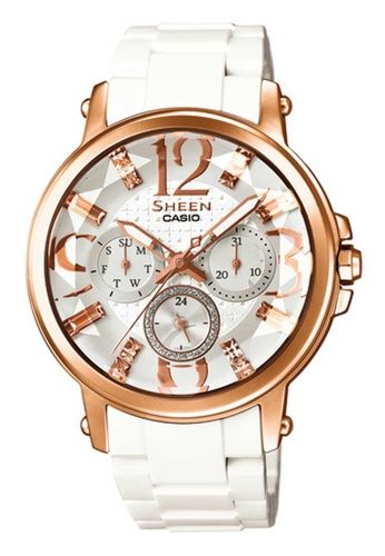 CASIO white Casio Sheen Rose Gold and White Rubber Watch 7050CAC7A9A70AGS_1