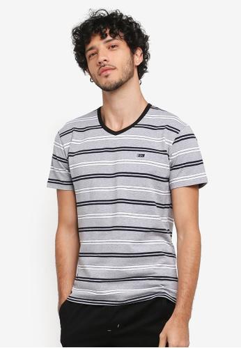 Fidelio grey Line Stripes Casual V-Neck T-Shirt E7C47AAF1A53F8GS_1
