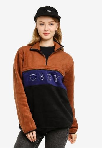 OBEY brown Denali Half Zip Jacket 4851AAA31E2D7BGS_1