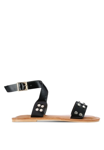 Something Borrowed black Studded Ankle Wrap Sandal 54BB4SH76979CDGS_1