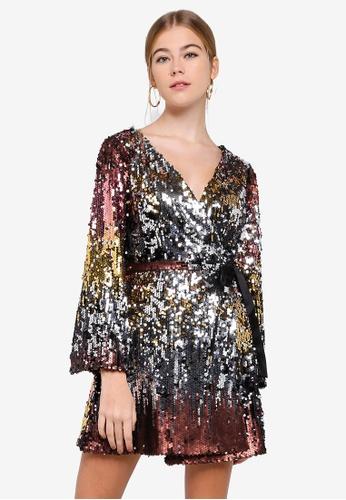 Miss Selfridge multi Petite Ombre Sequin Long Sleeve Dress B3EDFAA620A0D5GS_1