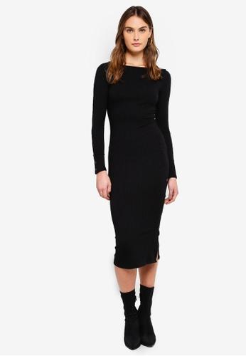 River Island black LS Washington Rib Bodycon Dress 6D737AA9ABB44BGS_1