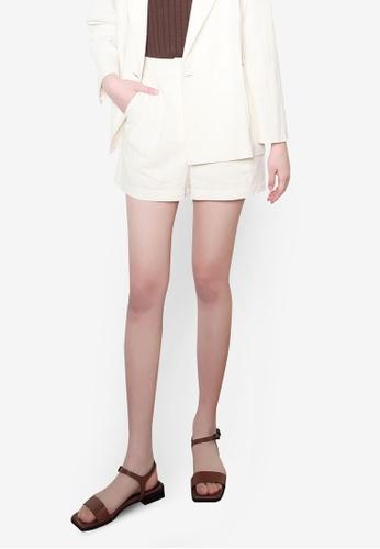 NAIN white Linen Shorts 94FBBAAD1B3EA5GS_1