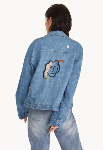 Pomelo blue Purpose Abstract Face Buttonless Denim Jacket CDC30AA947064FGS_1