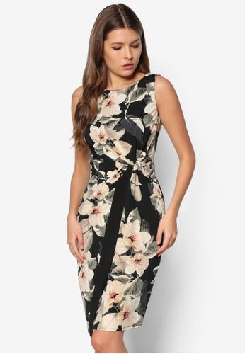 花卉裹式無zalora taiwan 時尚購物網袖洋裝, 服飾, 服飾