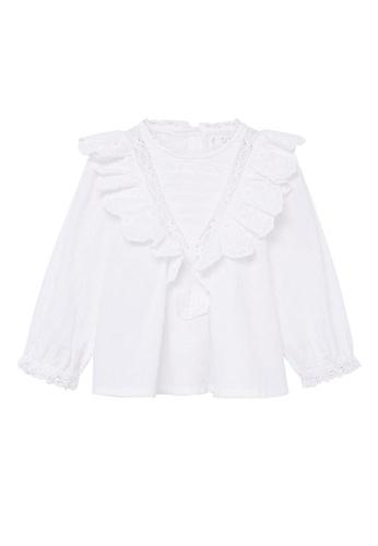 MANGO BABY white Ruffled Cotton Blouse D052DKA254F781GS_1