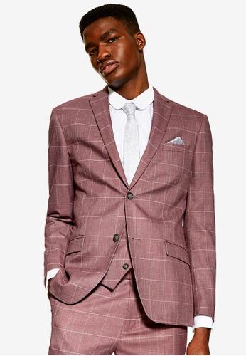 Topman 粉紅色 粉紅色 Windowpane 格紋外套 54DE7AA16FC01BGS_1