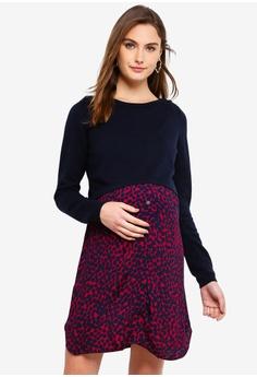 a5ca52652d0ba Seraphine navy Trinity Maternity Knitted Bodice Dress 85EA1AAB67B5BBGS_1