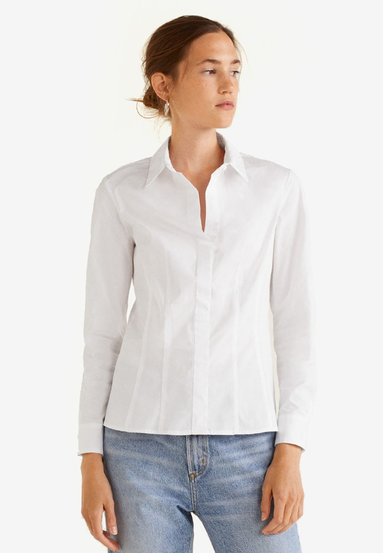 Shirt Mango White Mango Cotton Cotton rtw6rTq