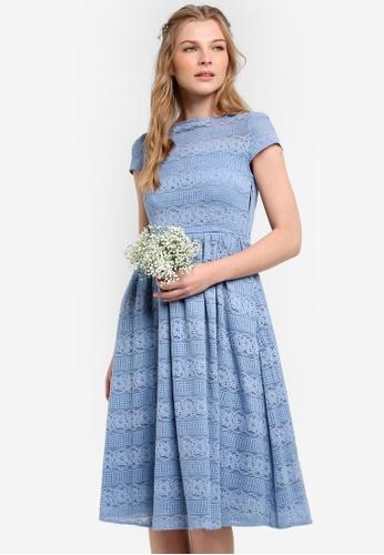 ZALORA blue Bridesmaid Short Sleeve Lace Midi Fit & Flare Dress 1E505AA3646463GS_1