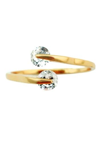 YOUNIQ gold YOUNIQ-Basic Korean 18K Plated CZ Eva Ring (Gold) YO999AC15DDKMY_1