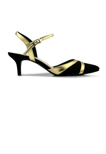 SHINE black Metal Lines Emblished Ankle Strap Point Toe Heels 852F5SHB03CC20GS_1