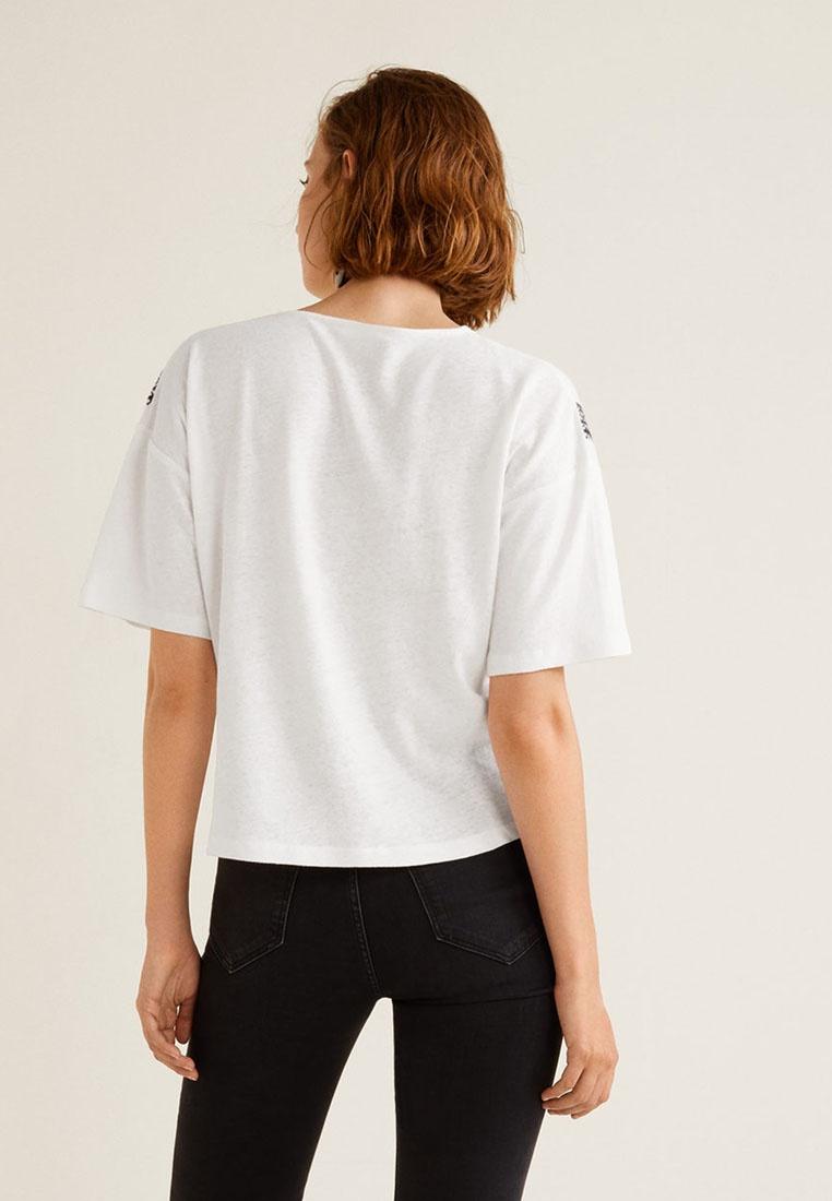 Mango Natural Shirt Linen Embroidered White Blend T 77P8vOq