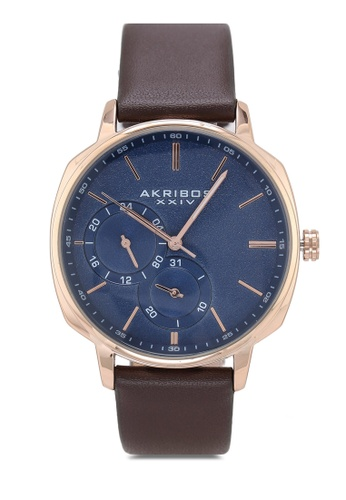 Akribos XXIV brown Date Grained Leather Watch 7338BAC36475B7GS_1