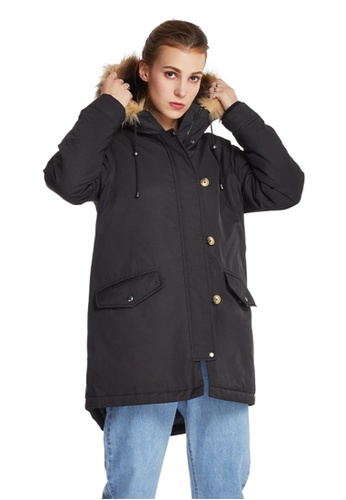 6IXTY8IGHT black Faux-Fur Trimmed Hooded Coat OW08212 8F313AA2D151A7GS_1