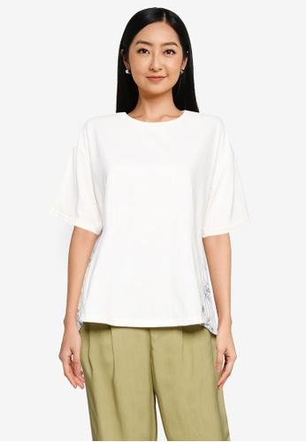 GLOBAL WORK white Contrast Print Knit T-Shirt 104AEAA679B4BDGS_1