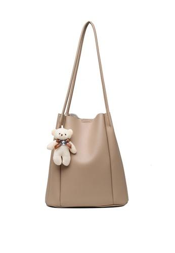 Lara beige Women's Teddy Bear Charm Plain Leather Tote Bag - Khaki 82263ACC041E7AGS_1