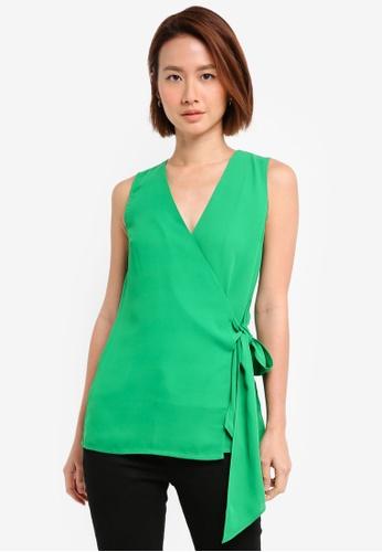 WAREHOUSE green Knot Front Top ADD4EAADA2BB60GS_1