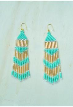 Turquoise Blue Fringe Earrings