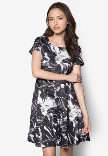 大理石印花傘狀連身裙, 服飾, 服zalora 手錶飾