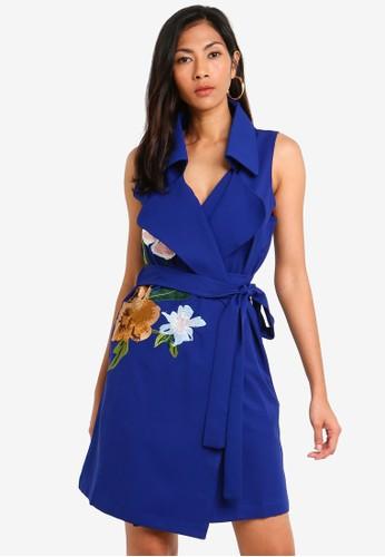 Megane navy Red Romance Odila Embroidery Wrap Dress C7E1EAA95E1D74GS_1