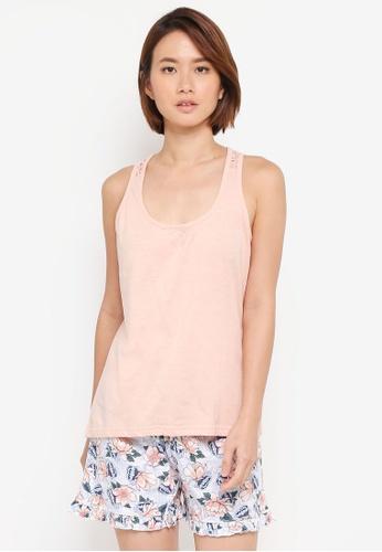 Dorothy Perkins pink Lace Racer Back Short Pyjama Set 3F6FBAA3EB1D15GS_1