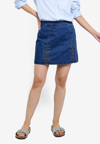 Brave Soul blue Denim Skirt With Tie Up Detail 73041AA279B5AAGS_1