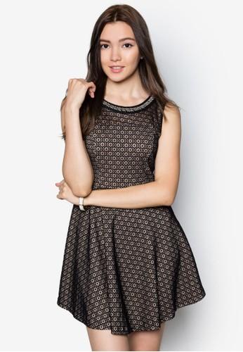 幾何印zalora 折扣碼花鏈飾洋裝, 服飾, 洋裝