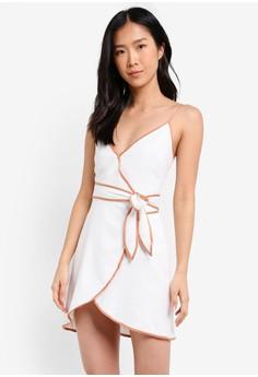 Image of Contrast Seam Wrap Mini Dress