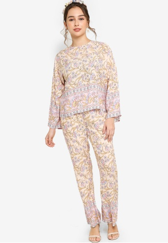 Lubna pink and multi Border Print Co-Ord Set C1C49AAEFDFEA0GS_1