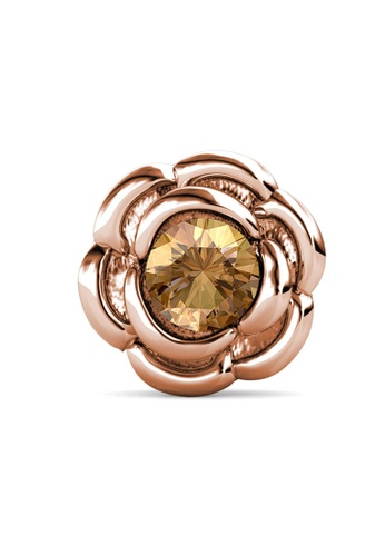 Her Jewellery gold Petunia Brooch (January, Rose Gold)-  Made with premium grade crystals from Austria D304CACDFDFDDBGS_1